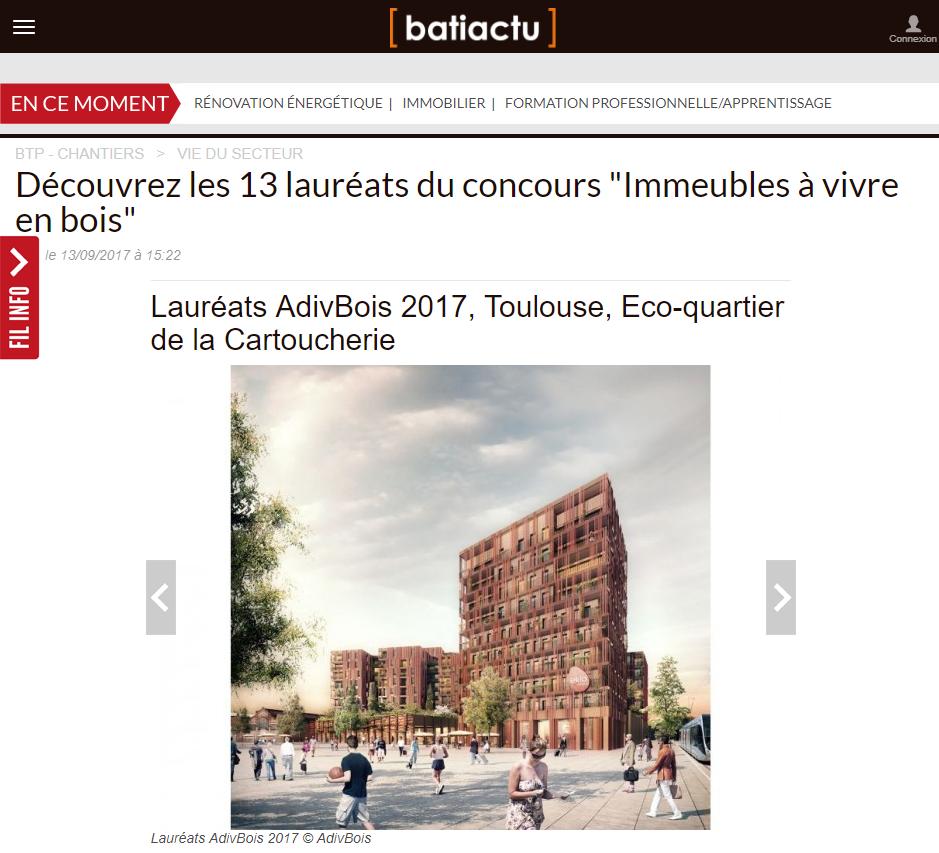 Bati-actu - Lauréats AdivBois 2017, Toulouse, Eco-quartier de la Cartoucherie