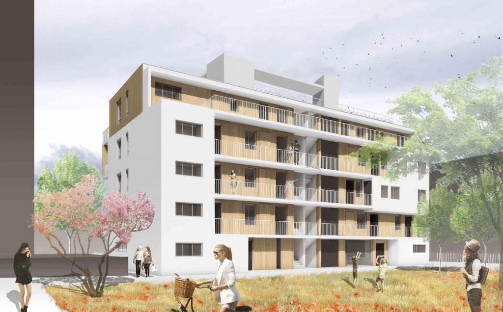 Les logements coopératifs d'Abricoop vus depuis le cœur d'îlot, dans l'écoquartier La Cartoucherie.