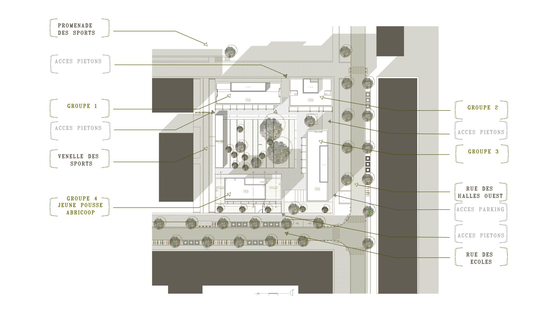 Logements coop ratifs dans un coquartier de toulouse for Plan masse architecture