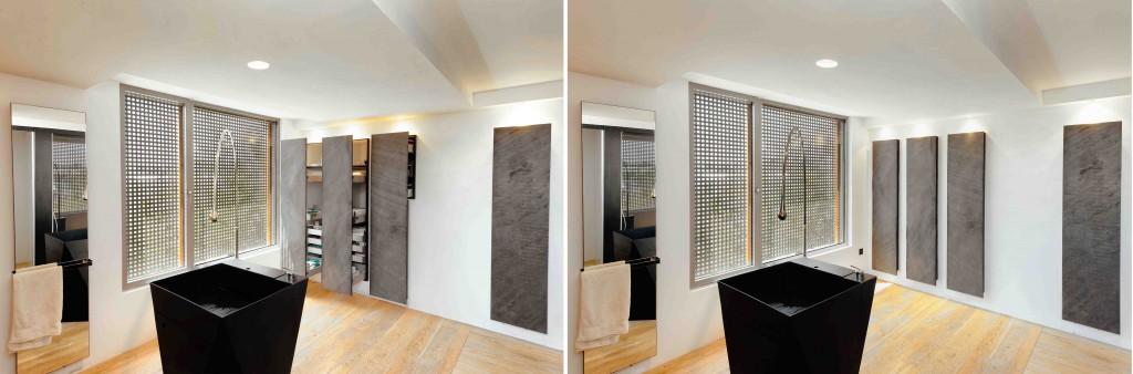 Des rangements dissimulés dans la salle de bain de la maison passive