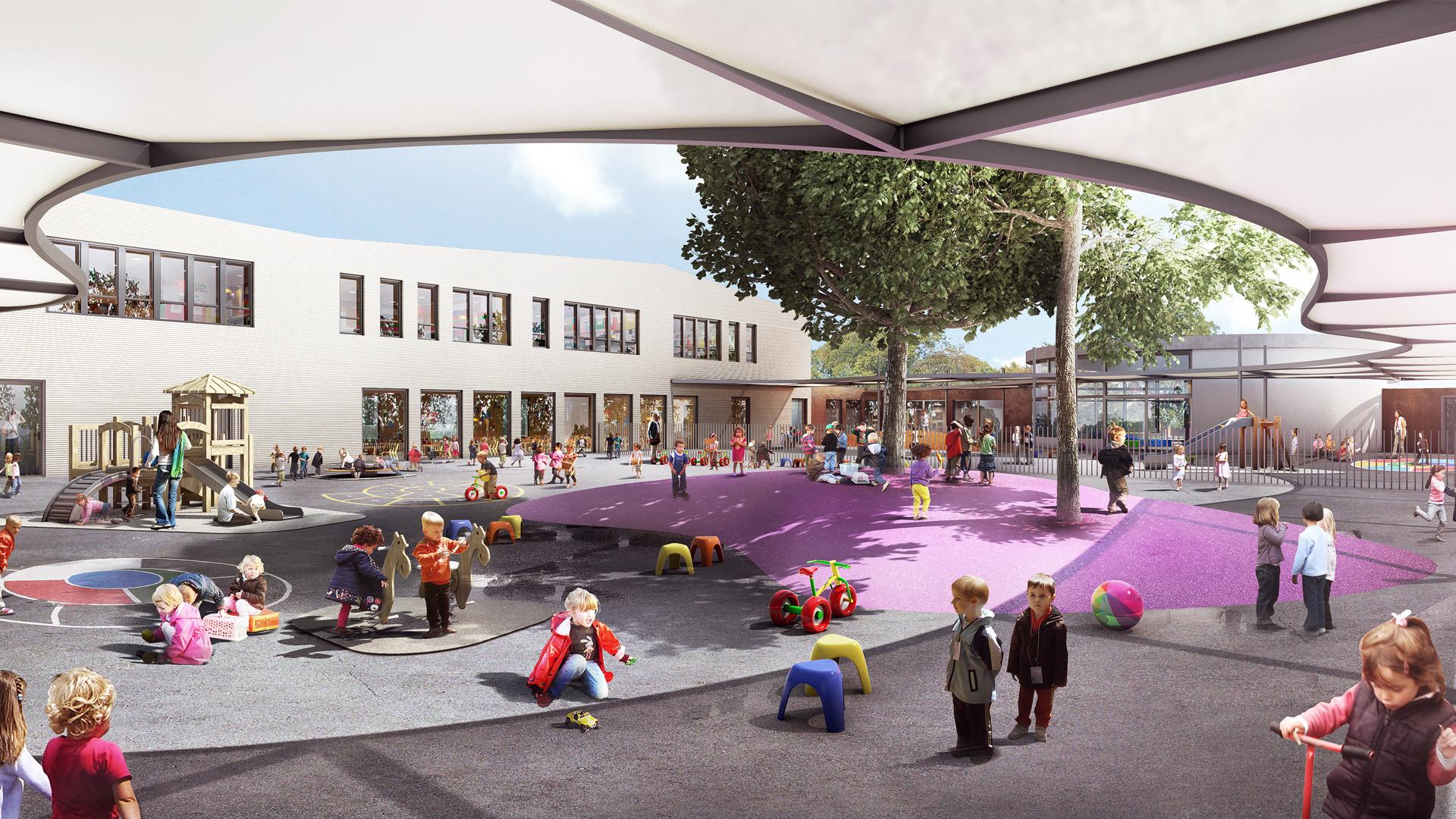 Infographie - Des cours abritées et chaleureuses pour les enfants - Groupe scolaire Falcucci, Toulouse - Seuil architecture