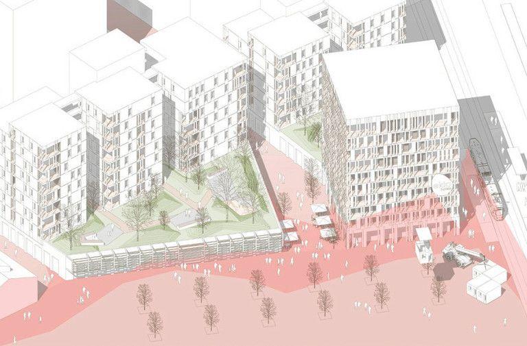 Vue de situation de l'ensemble du projet Wood'Art - Seuil architecture