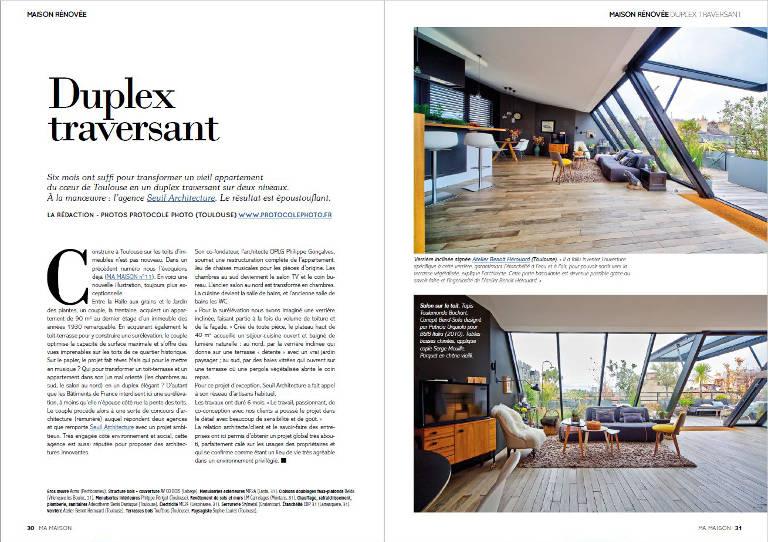 Le magazine Ma Maison présente cette étonnante rénovation ossature bois sur les toits de Toulouse