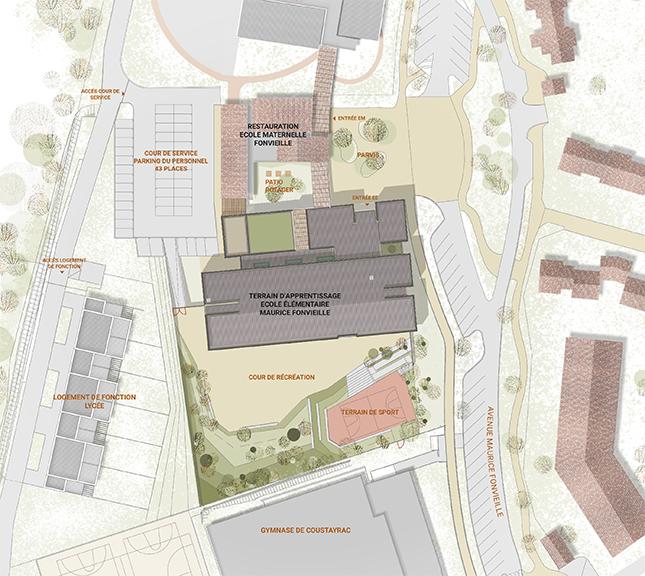 Concours groupe scolaire - Plan de masse de l'école élémentaire de Pibrac - Seuil architecture