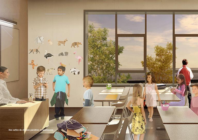 Concours groupe scolaire - Des salles de classes paisibles et spacieuses - Seuil architecture