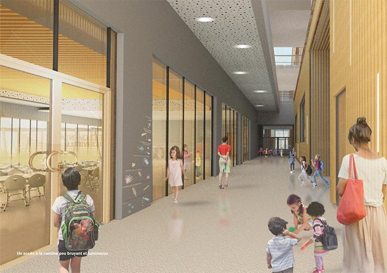 Concours groupe scolaire - Un accès au restaurant peu bruyant et lumineux - Seuil architecture