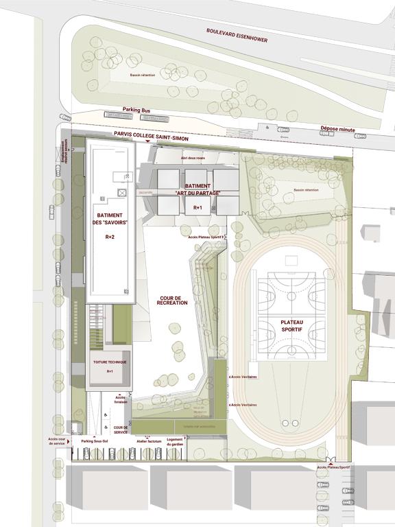 Seuil architecture - Plan de masse du projet de collège de Saint-Simon