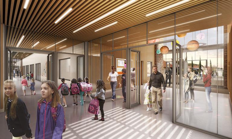 Concours groupe scolaire - Un parvis mutualisé entre écoles maternelle et élémentaire - Seuil architecture