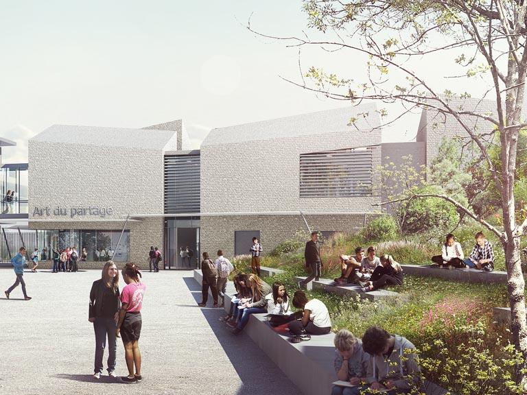"""Seuil architecture - Le bâtiment """"Art du partage"""", présenté dans le cadre du concours pour la construction du collège de Saint-Simon (Toulouse), témoigne du parti pris affiché de mixité sociale."""