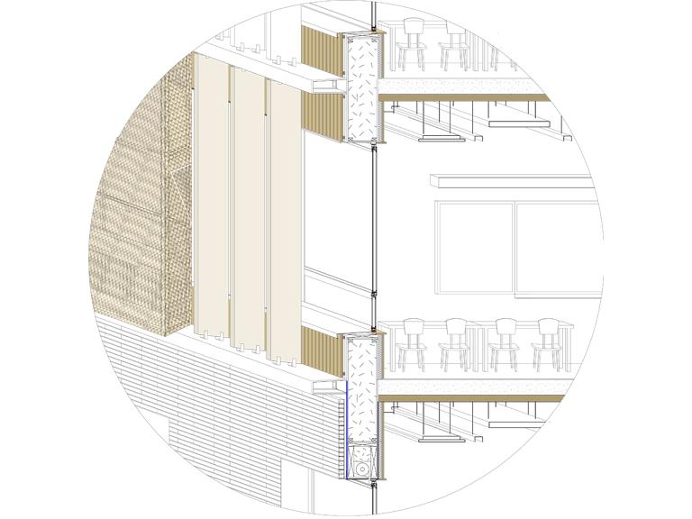 Seuil achitecture - Détail des parois à ossature de bois garnies de pailles et des protections solaires
